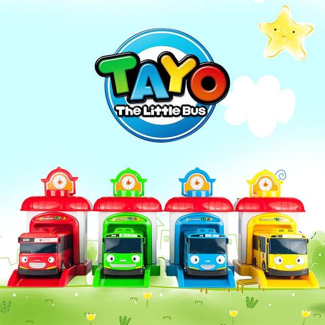 4pcs Set Korean Cute Cartoons Garage Tayo The Little Bus Model Mini