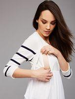 Mother Stripe Stitching Maternity Clothes Pregnancy Tops High Waist slim Split safety Breastfeeding T shirt Nursing Clothing