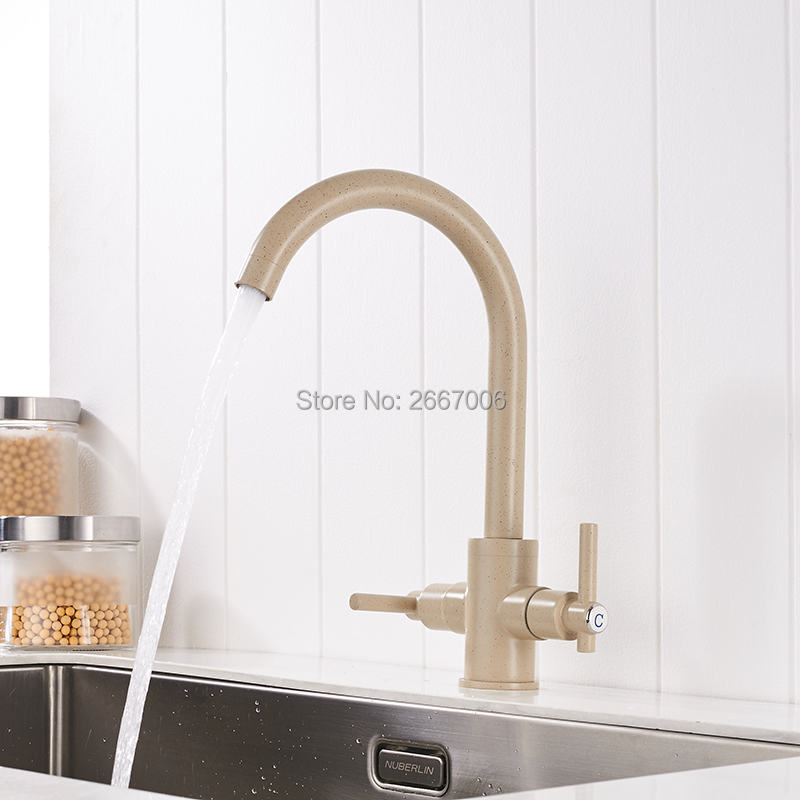 GIZERO Free Shipping Beige Color 360 degree Swivel Spout Dual Handles Hot Cold Control Kitchen Vanity