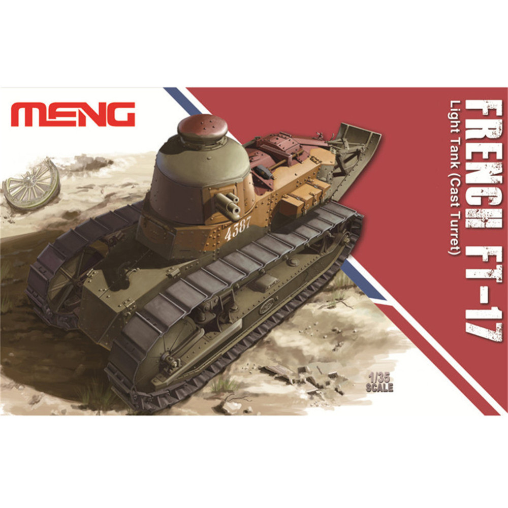OHS Meng TS008 1/35 French FT-17 Light Tank Cast Turret Military AFV Model Building Kits oh meng ts013 1 35 amx 30b2 french main battle tank mbt military afv model building kits tth
