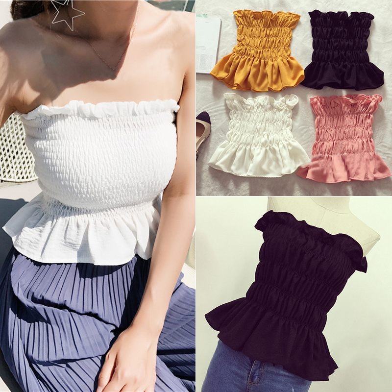 women Crop   Tops   Women Off Shoulder Sleeveless Summer Bralette Cropped   Top   Sexy Stretchy Short Bustier Bandeau   Tank     Top