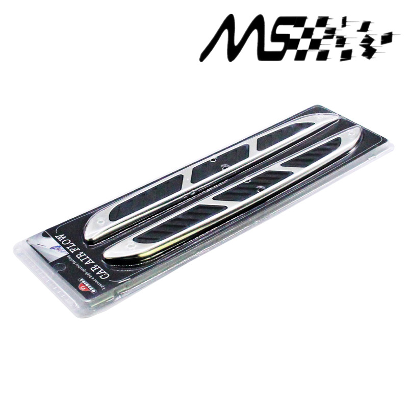 Hot sell Shark Gill Car Styling 3D Vent Air Flow Fender Chrome Alloy Metal Sticker Decal Sticker for Car Decoration