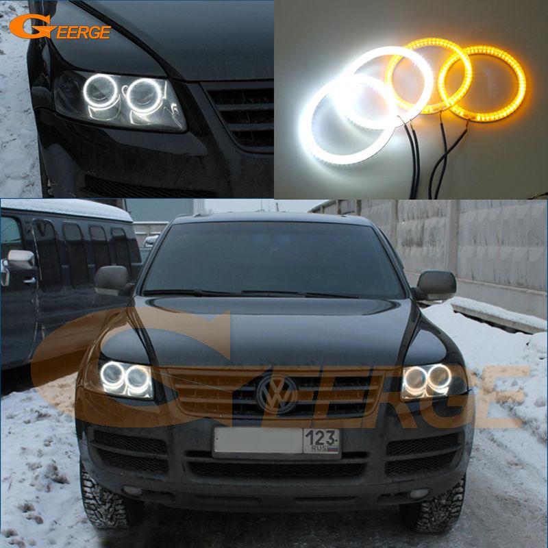 Для Фольксваген VW Туарег 2004 2005 2006 2007 Галогенные фары Ультра яркий двойной Цвет Горки SMD из светодиодов глаза Ангела комплект