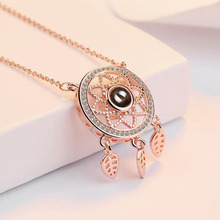 Romantic Memory 100 Languages I Love You Projection Rose Gold Pendant 925 Silver Dreamcatcher Necklace Valentines Day Presents