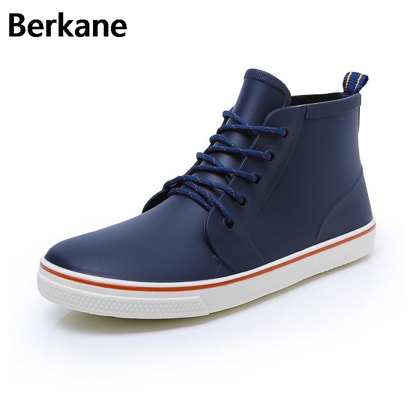 Short Ankle Rain Boots Men Shoes Rubber Black Solid Unisex Soft Water Shoes Gummistiefel Rainboots Zapatillas Deportivas Hombre