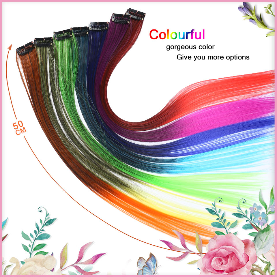 "HTB1eKsAbjzuK1Rjy0Fpq6yEpFXaz - BUQI Colored Highlight Synthetic Hair Extensions Clip In One Piece Color Strips 20"" Long Straight Hairpiece For Sports Fans"