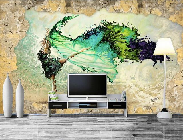 Aanpassen foto muurschilderingen 3d woonkamer behang vliegende ...