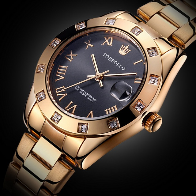 2018 New Fashion Women's Watches Gold Stainless Steel Waterproof Quartz Watch Fe