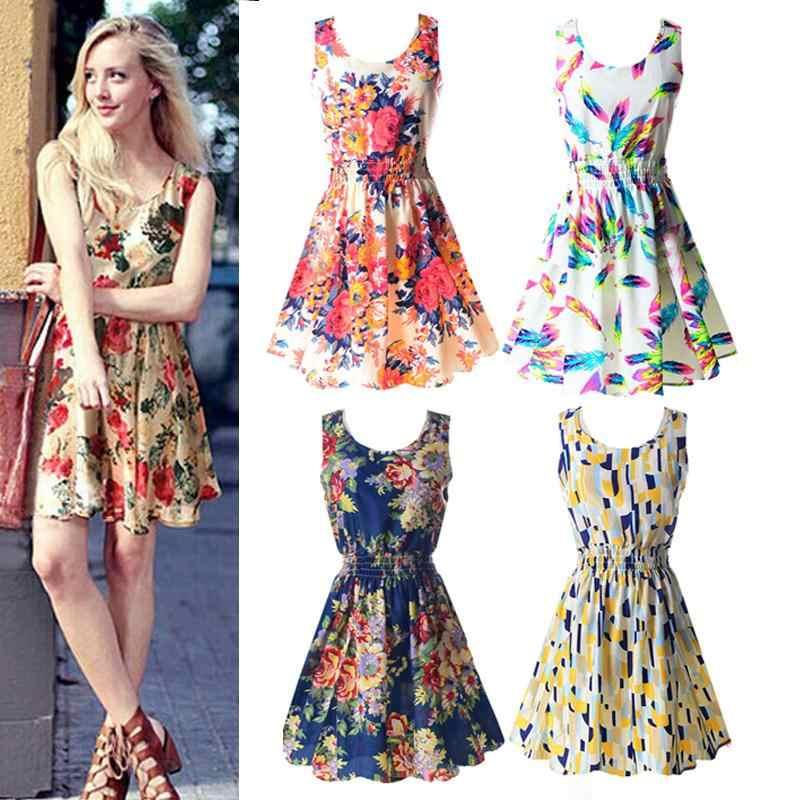 2019 Summer Sundress Fashion Women Sexy Printed Chiffon Sleeveless A-line dress Beach Floral Tank Dresses