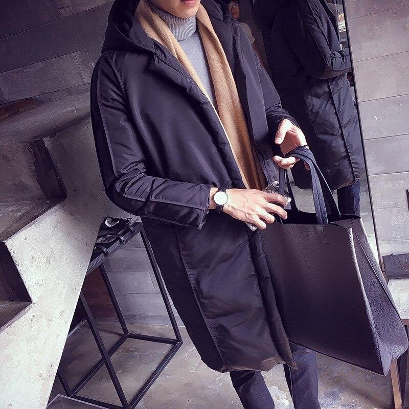 Winter new men's Cotton Hooded long coat Korean couple loose warm thick jacket coat Metrosexual