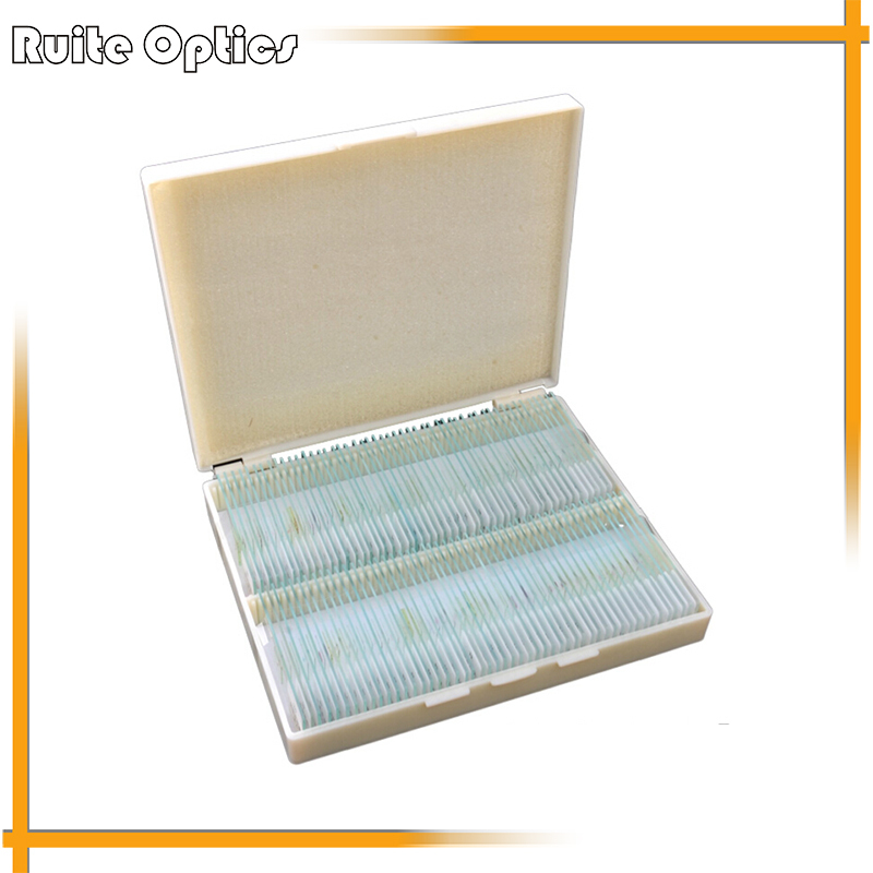 100 pcs Professional Type Prepared Glass Microscope Slides in Plastic Box for Student and Lab professional school teaching medical microscope 100 kinds botany prepared slides