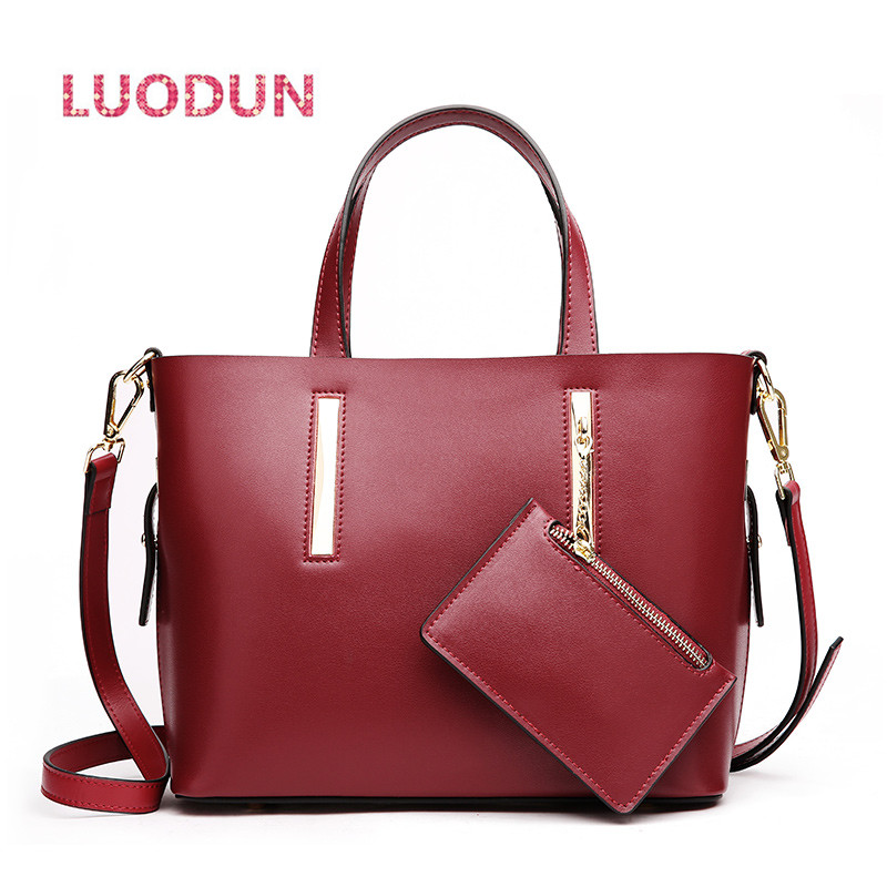 LUODUN new big bag leather handbags leather wild fashion Europe and the United States large capacity laptop shoulder bag 2018 new europe and the united states flash metal long fashion wild temperament waist chain 937