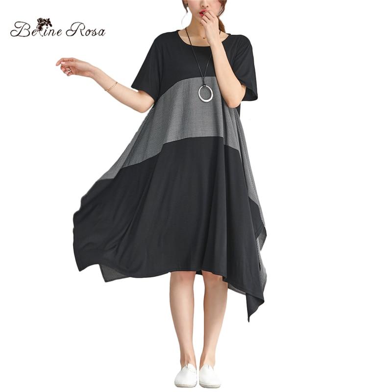 BelineRosa 2018 Women's Summer Style Shirt Dresses Hit Color