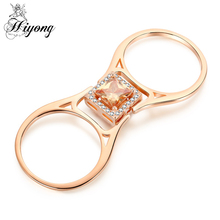HIYONG Unique Reversible flip Double Stones Ring Cushion Cut Champagne Color&White CZ Best Jewelry Gift for Her Promise Ring