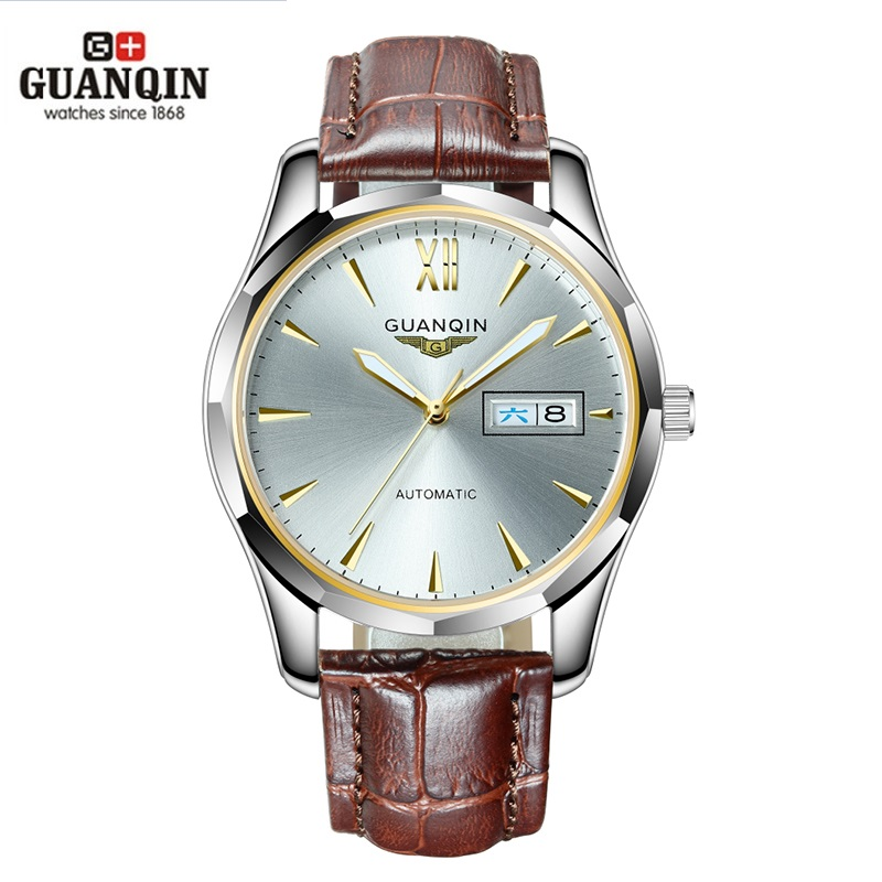 GUANQIN Automatic Mechanical Men Watch Tungsten Steel Luminous Watches Date Calendar Japanese Movement Watch with Leather Strap guanqin men auto mechanical watch water resistance luminous pointer date 24 hour display transparent back cover wristwatch