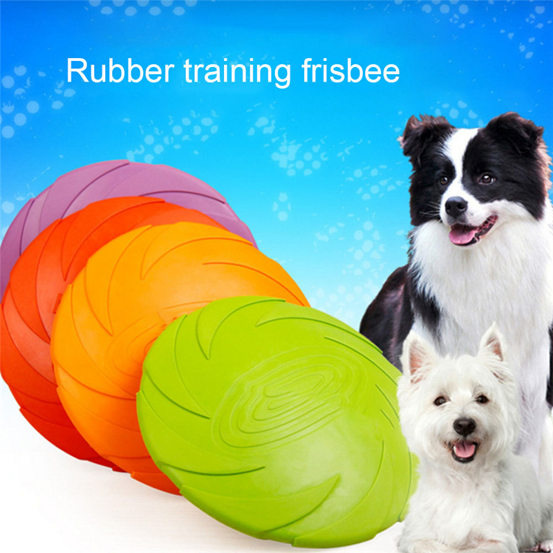 Dogs Training Flying Disc Playing Toy Soft Eco-friendly Silicone Rubber Dog Frisbee Pet Tooth Resistant Fetch Outdoor Toys