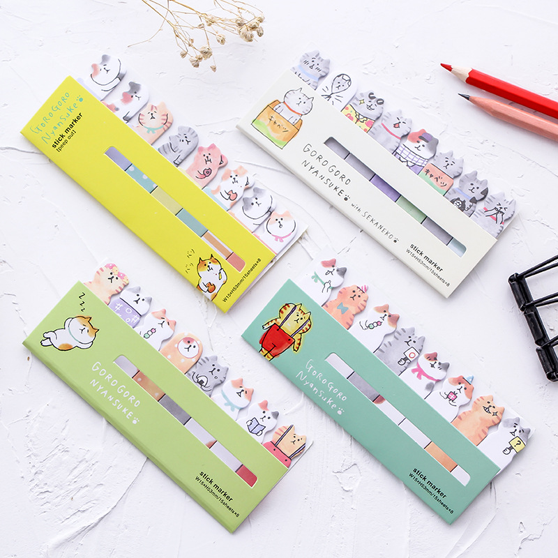 1 Pcs Cute Cartoon Cat Self-Adhesive Marker Memo Pad Flag Index Tab Sticky Notes Label Paper Stickers Notepad Stationery