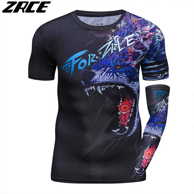 ZRCE 3D Print Wolf Men Shirt With Arm Sleeve O-neck Summer Funny Cosplay Costume Stranger Cool Things Streewear Skinny Tee Shirt 2