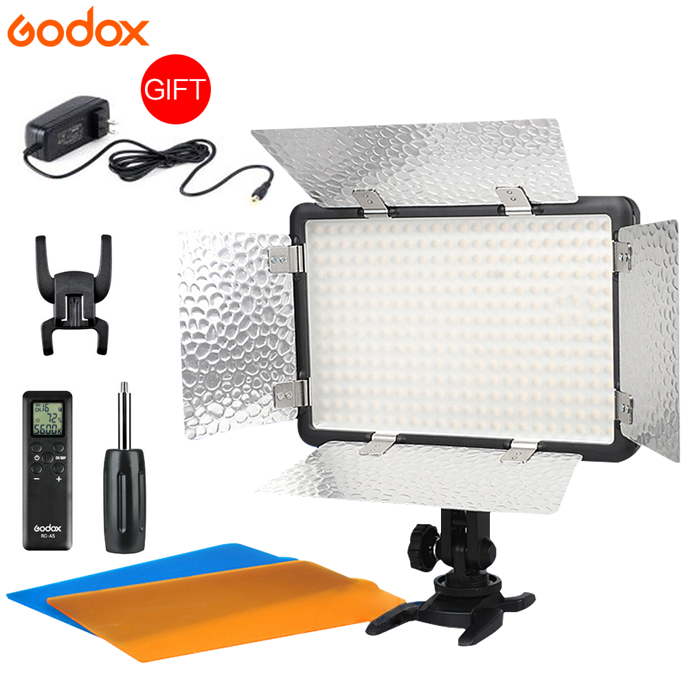 New Godox LED 308W II 5600K White LED Remote Control Professional Video Studio Light + AC Adapter hot selling godox professional led video light led308w wireless 433mhz grouping system 308 led bulbs of high brightness white version