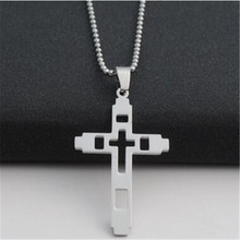 men hollow stainless steel cross pendant necklace charms silver jesus sweater necklaces pendants women choker fashion jewelry