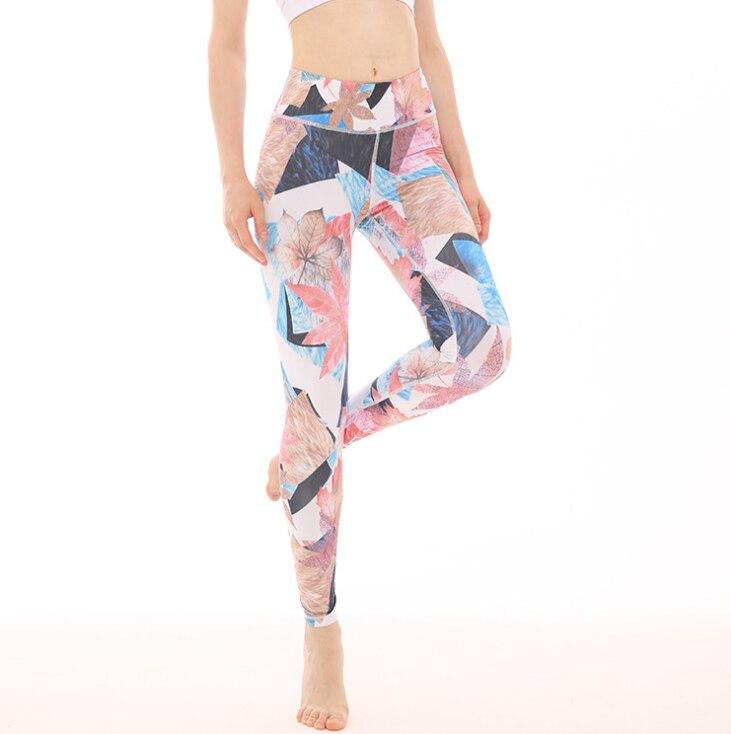 Штаны для йоги с принтом в европейском и американском стиле эластичные дышащие спортивны фитнес штаны танцевальные лосины для йоги брюки - Цвет: Многоцветный