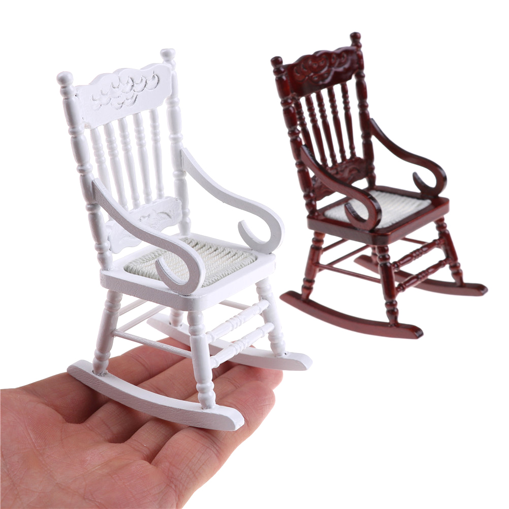 1:12 Scale Dollhouse Miniature Furniture Wooden Rocking Chair Hemp Rope Seat For Dolls House Accessories Decor Toys 1pc 2 Colors Furniture Toys
