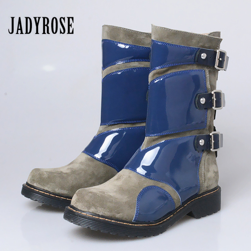 Jady Rose Fashion Patchwork Women Genuine Leather Ankle Boots Rubber Sole Martin Boots Female Buckles Platform Botas Militares whensinger 2017 new women fashion boots genuine leather fashion shoes rubber sole hands sewing 2 color 7126