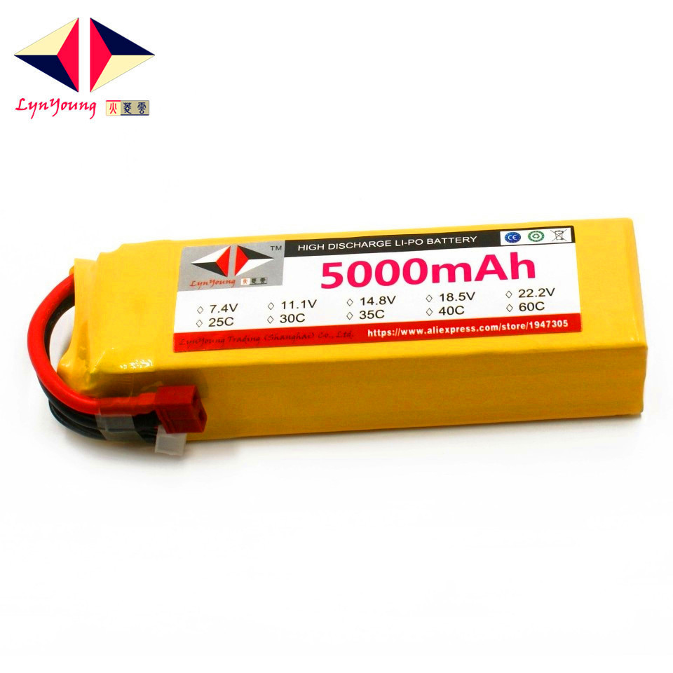 LYNYOUNG RC <font><b>Lipo</b></font> Battery <font><b>5S</b></font> 18.5V <font><b>5000mAh</b></font> 30C Max 60C for Helicopter Quadcopter Airplane Drone FPV Car image