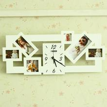 Wool photo frame clock wall decoration clock black and white wedding dress clock mute