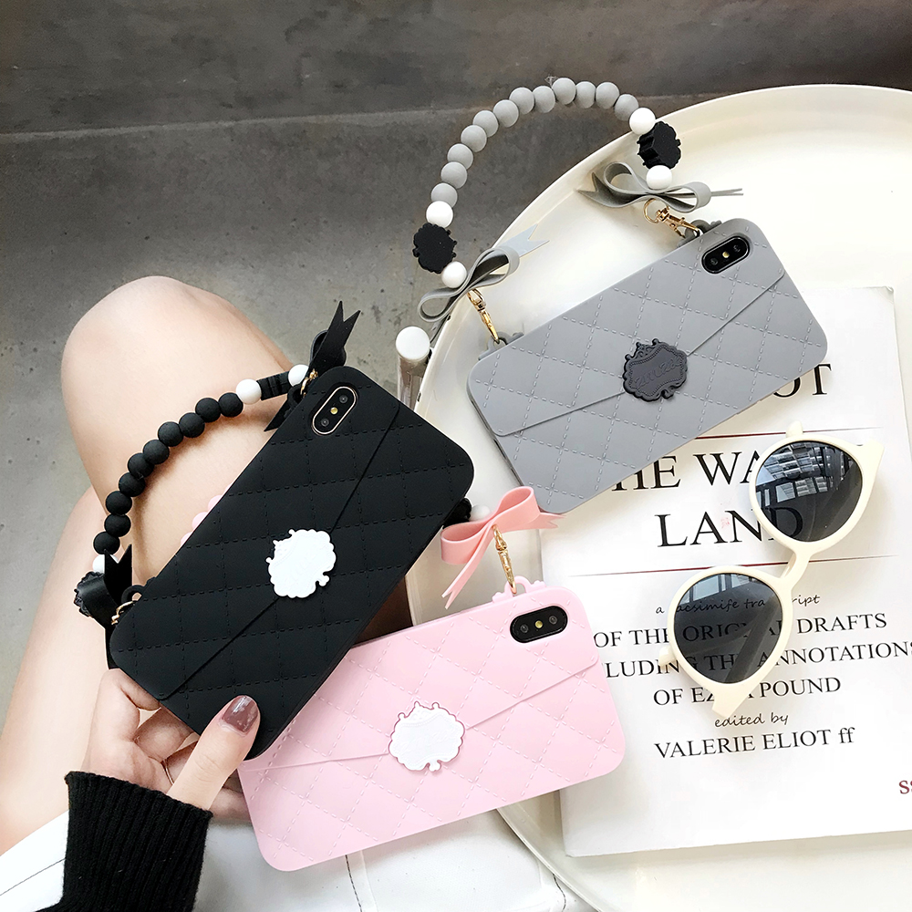 Dower Me Luxury Fashion Cute Bow Hand Chain Women Handbag Design Soft  Silicone Case Cover For 7359cbca842e