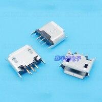 100 шт.-10000 шт. USB гнездо Micro 5Pin B Тип 180 градусов для планшетных разъем с Curl