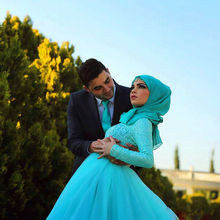 Hot Slae Long Sleeve Muslim Evening Dresses 2015 Elegant Islamic Zipper Court Train Tulle Prom Gowns