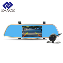 E-ACE Car Dvr Mirror Full HD 1080P Automobile Camera Rearview Mirror With Two Video Recorder Registrator Night Vision Dashcam