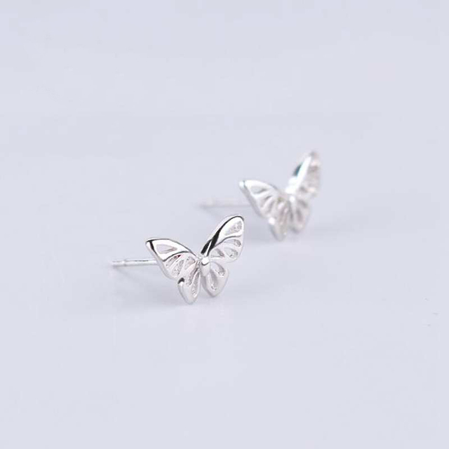 Ruifan Hot Sale High Quality 925 Sterling Silver Stud Earrings for Women Girl Butterfly Shape Small Earrings Fine Jewelry YEA143