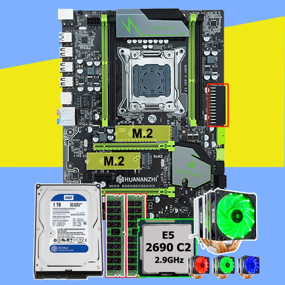 HUANANZHI X79 Pro Motherboard With Dual M.2 SSD Slot CPU Xeon E5 2690 2.9GHz 6 Tubes Cooler RAM 16G(2*8G) RECC 1TB SATA3.0 HDD