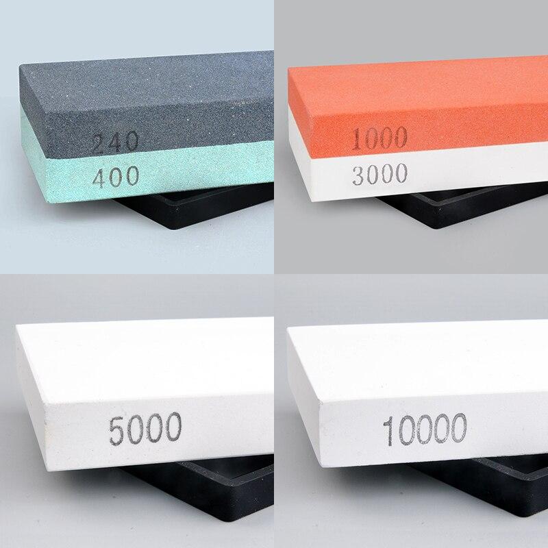 4 PCS ENSEMBLE 240 400 1000 5000 10000 grit professionnel pierre à aiguiser couteau aiguiseur pierre à aiguiser couteau rodage bord polising lame