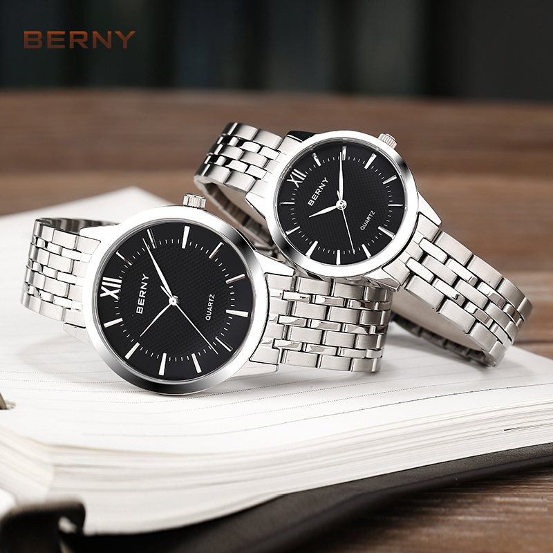 Branded Luxury Bracelet Couple Watches Pair Women Men Watch For Couples Stainless Steel Reloj Mujer Quartz Fashion 2679L