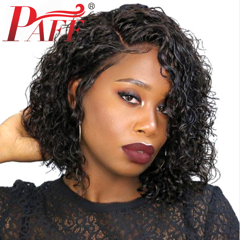 PAFF Short Curly Bob Lace Front Human Hair Wig 250% Density Side Part Natural Color Hair Wig Remy Brazilian Hair With Baby Hair