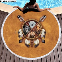 Bear Totem/Native Indian Bath Towel for Beach Thick Round 3d print Fabric Quick Compressed Towel new style-8 indian elephant print chiffon round beach throw