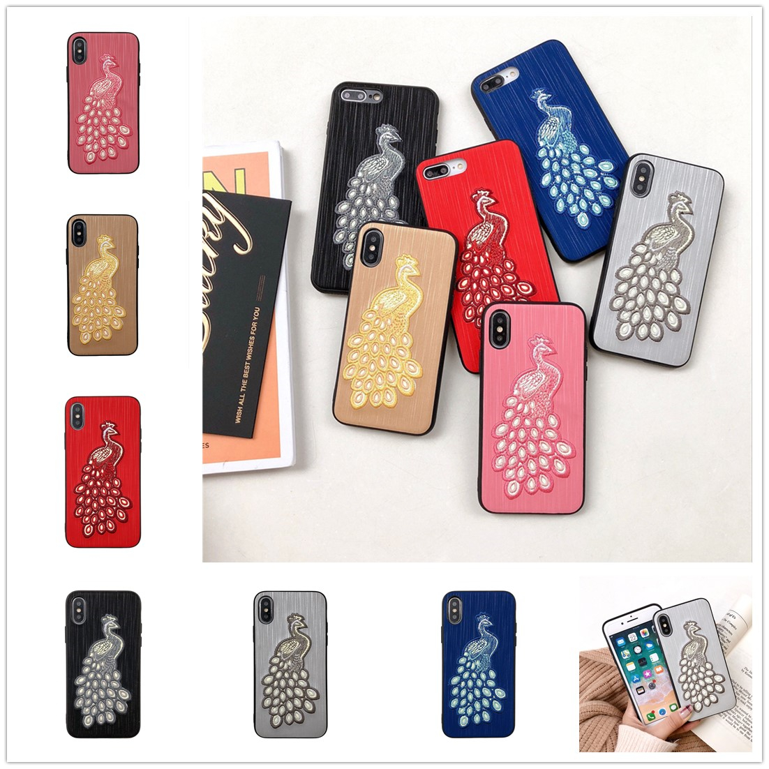 XS Max Embroidery Fundas for IPhone XR 3D Peacock Back Cover Phone Shell for IPhone 8 7 Plus 6 6S Plus Luminous Night Light Case