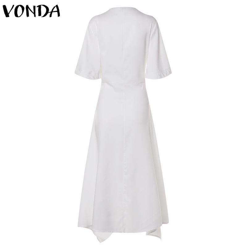 VONDA 19 Summer Dress Vintage Long Maxi Dress Women Short Sleeve Sexy V Neck Asymmetrical High Waist Party Vestidos Plus Size 23