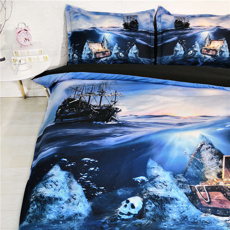 seabed treasure 3D bedding set queen duvet cover twin size bed set for kid blue fantastic bedroom decor simple home textile kingseabed treasure 3D bedding set queen duvet cover twin size bed set for kid blue fantastic bedroom decor simple home textile king