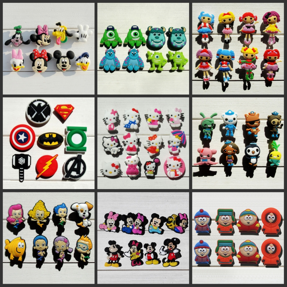 Mix Models 8pcs/lot Mickey Super hero Avengers South Park shoe charms shoe accessories shoe decoration for croc jibz kids gift free shipping 8pcs lot mickey shoe decoration shoe charms shoe accessories for wristbands kids school gifts