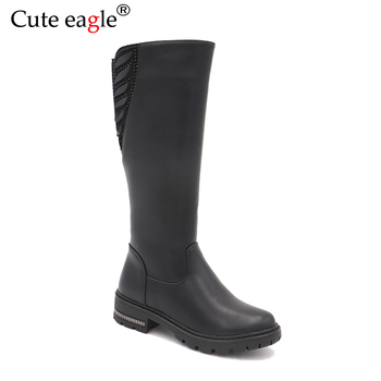 Cute eagle Winter  Leather Boots Children Girls Felt Shoes Kids Warm With Plush Snow Rubber Boots Girls Baby Fashion High Boots new winter snow boots children girls genuine leather boots princess student warm with plush toddler shoes kids 041