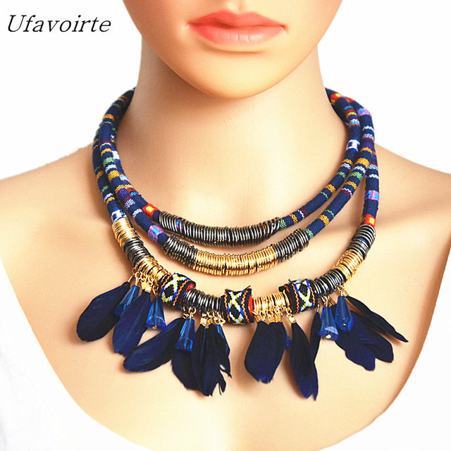 f000a39e8cb74 Ufavoirte Women Bohemian Necklace&Pendants Black Feather Statement Choker  Necklace Za Antique Tribal Ethnic Boho Noir Mujer-in Jewelry Sets from ...