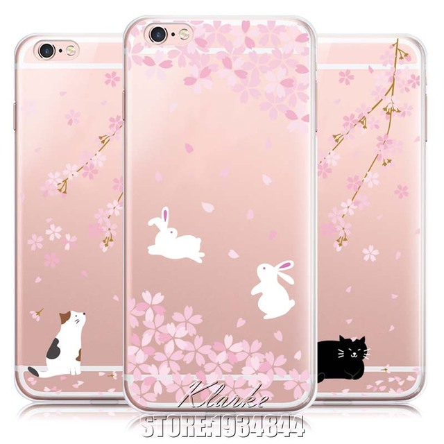 sale retailer 5445c 6110e US $1.81 9% OFF|Cute Rabbit Romantic Cherry Blossoms Case Cover For iphone  8 5 5s SE 6 6s Plus X Transparent Silicone Cell Phone Cases-in Half-wrapped  ...