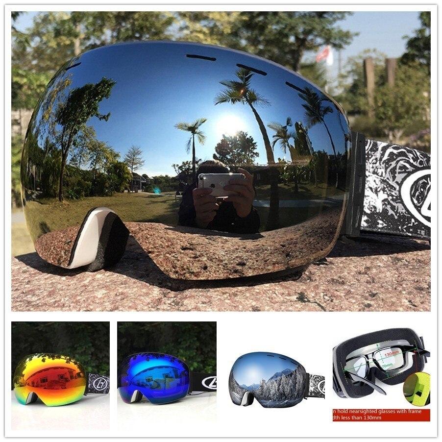Зимние лыжные очки для сноуборда очки для мужчин и женщин UV400 двойные линзы анти-туман Лыжный спорт и сноуборд стекло сферическая маска для ...