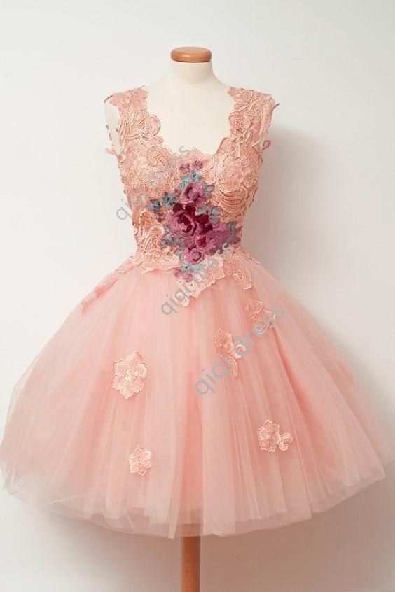 Lace Applique Short Prom Dresses 2018 Pink Custom Made Party Dress Latest Gown Design Cheap Vestido De Festa