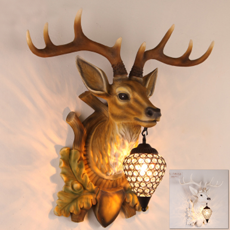 Deer wall light lamp LED ram sheep goat buck wall lamp light retro modern crystal art