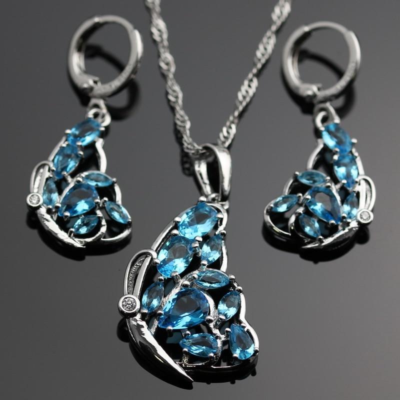 Lan Sliver Color Jewelry Sets Light Blue Aaa Zircon Necklace Pendant Earring Wedding